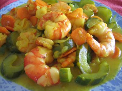 Image : recette Crevettes au curcuma