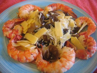 Recette Assiette de crevettes aux pousses de bambou