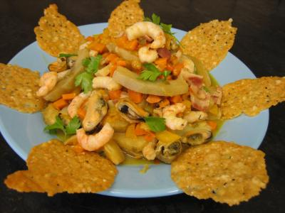 Recette Crevettes et moules aux artichauts