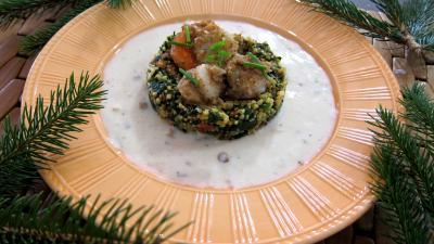 Image : Assiette de chorizo, quinoa et coquilles Saint-Jacques