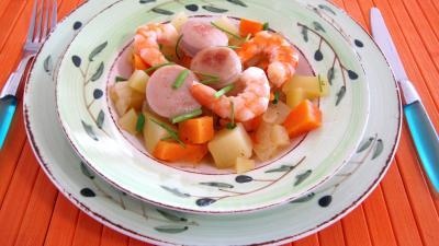 Image : Assiette de wok et légumes au Jurançon