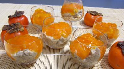 Recettes rapides : Verrines de kakis en trifle aux amandes