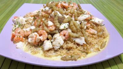 sirop d'érable : Assiette de crones et églefin en risotto