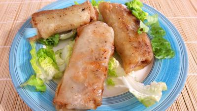 plat complet : Assiette de rouleaux de boeuf et de poulet à la chinoise