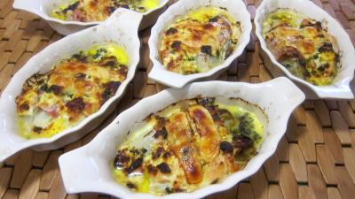 cassolette : Cassolettes de roulés de saumon et jambon aux endives