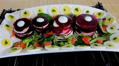 Recette Plat de mille-feuilles de betteraves au fromage frais de chèvre