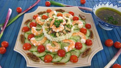 figue sèche : Assiette de salade de gambas