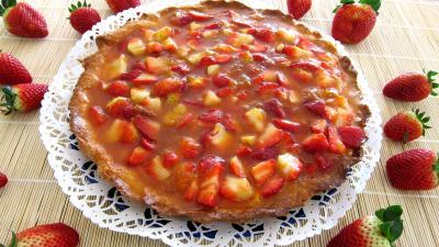 Dessert à base de fromage blanc : Ricotta aux fraises en tarte