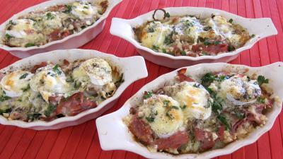 veau : Cassolettes d'escalopes de veau gratinées aux fromages