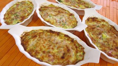 asperge : Cassolettes de pousses de bambou et asperges gratinées