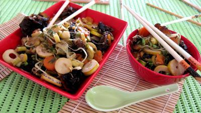 germes de soja et pousses de bambou