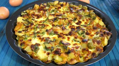 Image : recette Frittata aux pommes de terre et petits pois