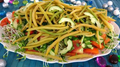 germe de soja : Assiette de salade haricots beurre du jardin