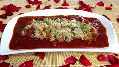 Recette Plat de risotto de cardon et sa sauce tomate