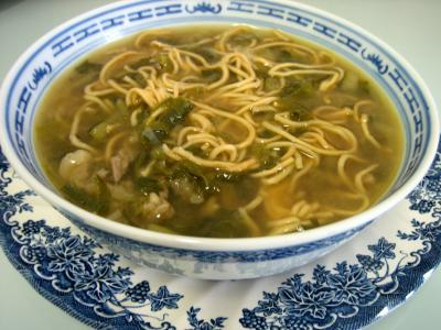 Contre-filet de boeuf : Bol de soupe de boeuf et nouilles façon chinoise