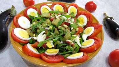 Recette Saladier d'aubergines crues en salade