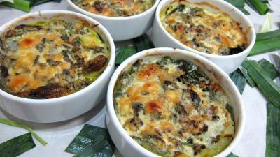 plat complet : Cassolettes de poireaux farcis