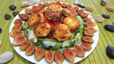 Recette Assiette de crottins de chèvre en salade