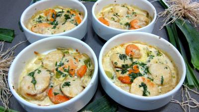 Cuisine normande : Cassolettes de coquilles Saint-Jacques à la honfleuraise