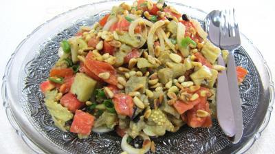 Recette Assiette d'aubergines en salade au sésame