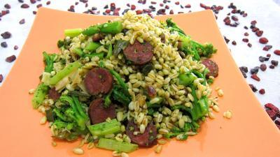 plat complet : Assiette de blé aux brocolis et aux pistaches