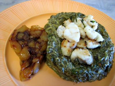 Image : Lotte aux épinards et aux poires confites