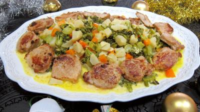 Porc : Assiette de filet mignon de porc aux topinambours