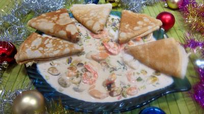 Coquillages et crustacés : Assiette de crêpes océanes