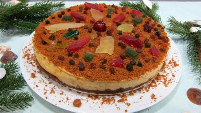 Recette Gâteau fromage blanc aux spéculoos et fruits confits