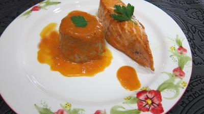 Cuisson au bain-marie : Assiette de saumon aux flans de cocos