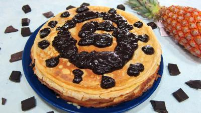 Recette Assiette de gâteau de crêpes Hawaïen