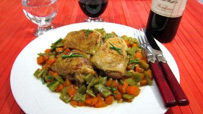 haricots beurre : Assiette de poulet aux carottes