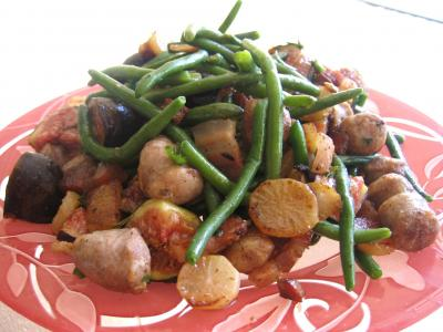 Image : Assiette de haricots verts et navets