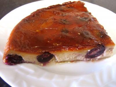 Image : Part de flan aux raisins muscat