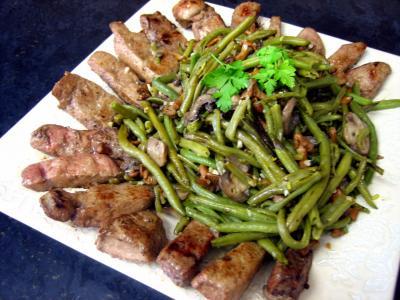girolle : Foie de veau aux haricots verts