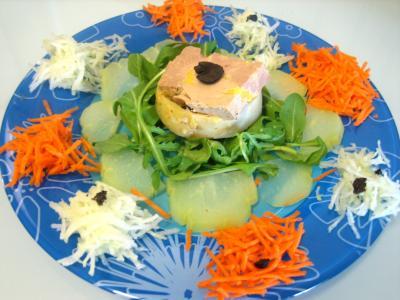 Recette Foie gras en salade chayotte et truffe