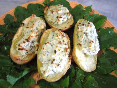 Recette Assiette de pommes de terre farcies à la ricotta