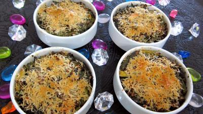 Recette Cassolettes de haricots verts et courgettes gratinés aux fines herbes