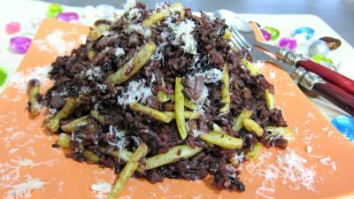 risotto : Assiette de risotto aux haricots verts et mendiants