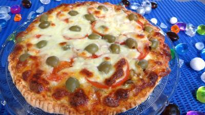 Pâte à pizza au lait : Assiette de pizza à l'aubergine