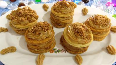 pâte feuilletée inversée : Millefeuilles à la crème pâtissière pralinée