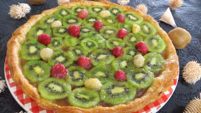 Image : Assiette de tarte  la noix de coco et aux kiwis