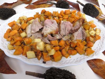 plat complet : Assiette d'épaule d'agneau au romarin, patate douce et panais