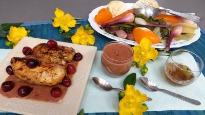 sauce pour légumes : Sauce aux cerises et ses blancs de poulet