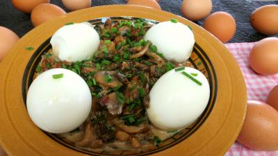 Recette Assiette d'oeufs durs aux champignons