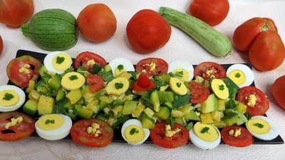 Pour débutants : Plat de salade de courgette