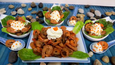 entrée à base de coquillages et crustacés : Cuillères de crevettes à la Chantilly