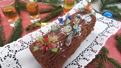 chocolat noir : Bûche de Noël aux marrons