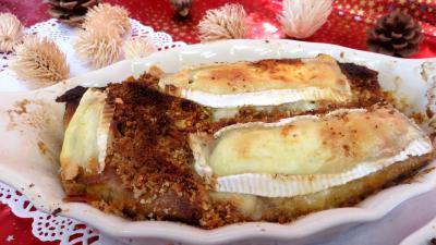 haricots beurre : Cassolettes de crêpes fourrées au camembert