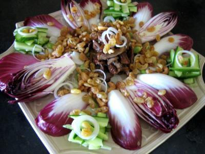 Recette Assiette de veau au miel en salade